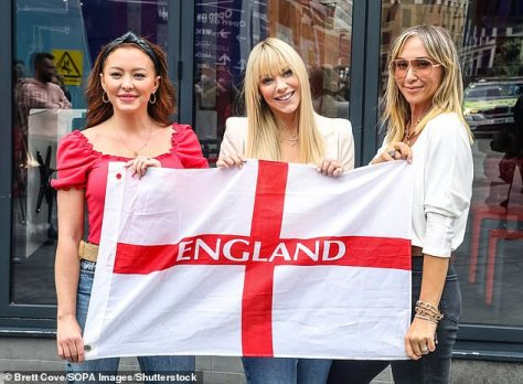 Whole again:In July, Jenny reunited with two of her former Atomic Kitten bandmates: Natasha Hamilton, 38, and Liz McClarnon, 40 (Pictured in July)