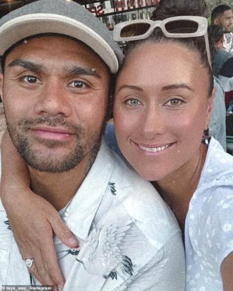 Definitely not doctors: Formers Wests Tigers club receptionist Taylor pictured with her former NRL player husband Frank, both of whom offer medical advice online