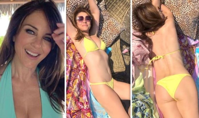 Liz Hurley (56), sparks excitement as she walks around in bold bikini in new jaw-dropping video