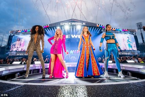 Reunion: The Spice Girls recently met in London to 'record pieces in front of the camera' for their upcoming online game, but Victoria was absent
