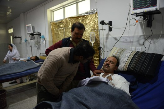 Victims of the attack, at the Lady Redding Hospital, Peshawar Ghulam Dastageer