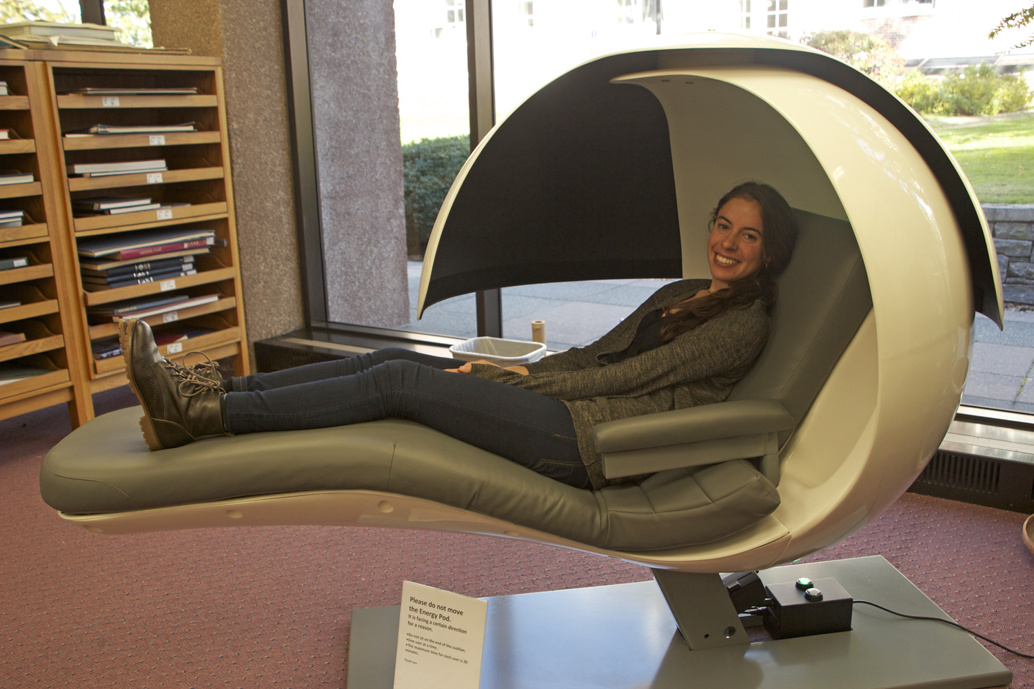 energy pod chair black pads alumni donate install 2 energypods in wesleyan libraries