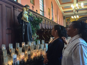 Pilgrims Carlotta Salazar from Virginia and her sister Elizabeth Ledesma from Texas made the long journey to the Shrine of St. Anthony in March 2016 as part of their Lenten devotions.