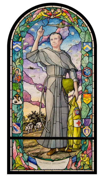 Watercolor rendering of Father Ignatius Maternowski stained glass window by artist Joseph K. Beyer to be installed in Normandy, France.