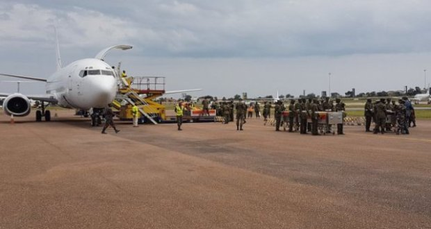 The remains of 12 UPDF soldiers arrive in the country