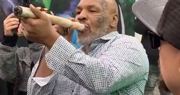 Mike Tyson smokes weed