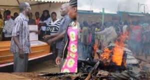 angry villagers burn coffin