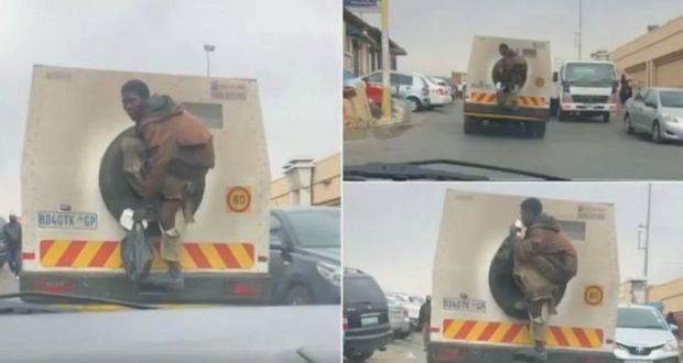 Man Fires Up Internet After Jumping Onto The Back Of Money Truck For A Ride
