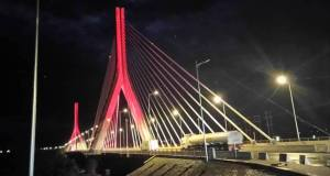 Source Of The Nile Bridge Lit Pink And Blue In Memory Of Babies Gone Too Soon