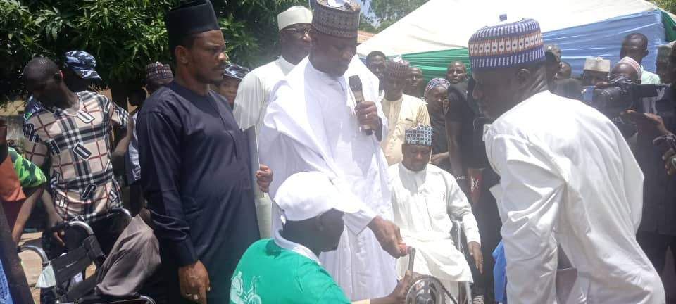 Wafari Distributes Tricycles to Physically Challenged Persons in Yola, Task Them to be Mentally Productive