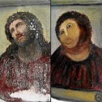 Damaged Spanish Jesus fresco