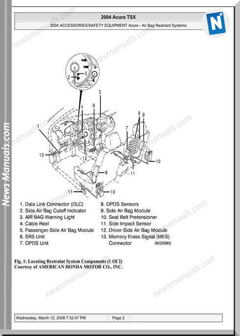 Acura Tsx Air Bag Restraint System Repair Manual 03-08