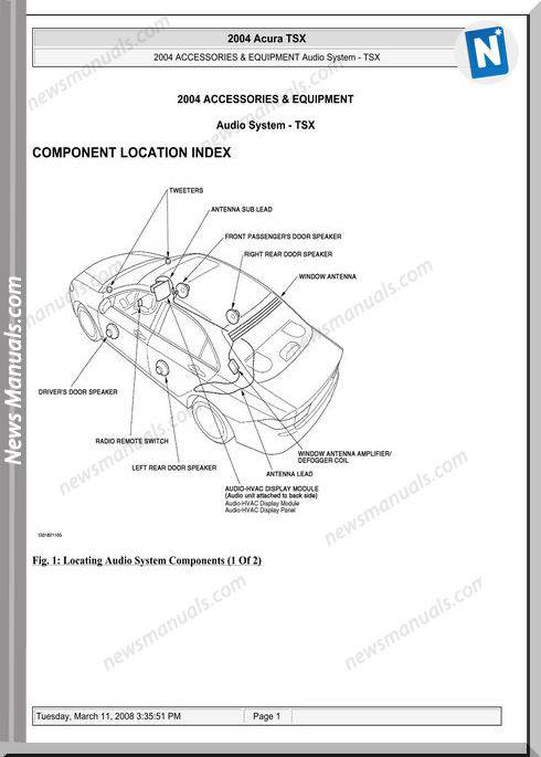 Acura Tsx Audio System Service Repair Manual 2003 2008