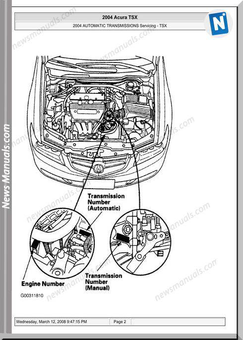 Acura Tsx Automatic Transmission Servicing 2003 2008