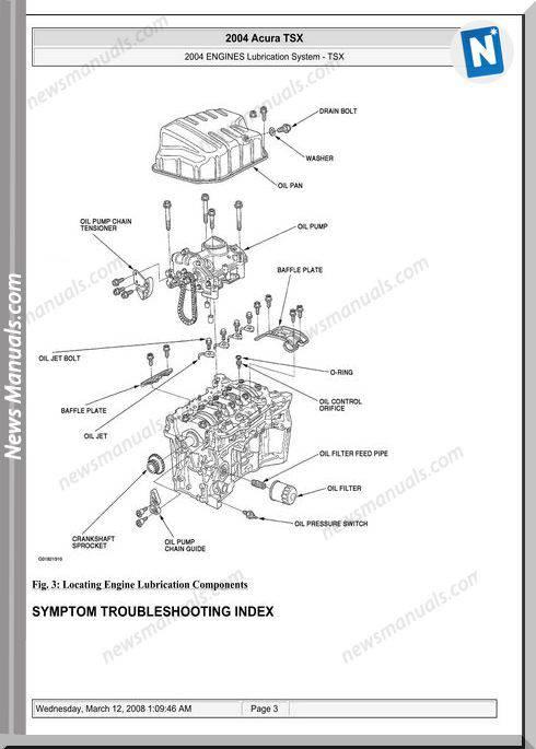 Acura Tsx Engine Lubrication 2003 2008