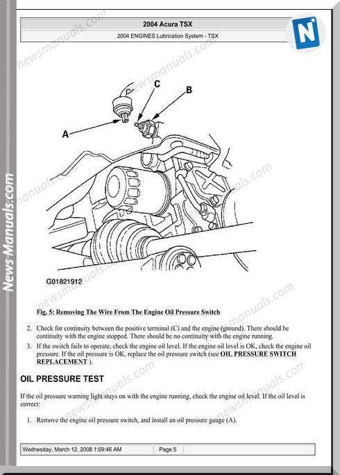 Acura Tsx Engine Lubrication 2003 2008