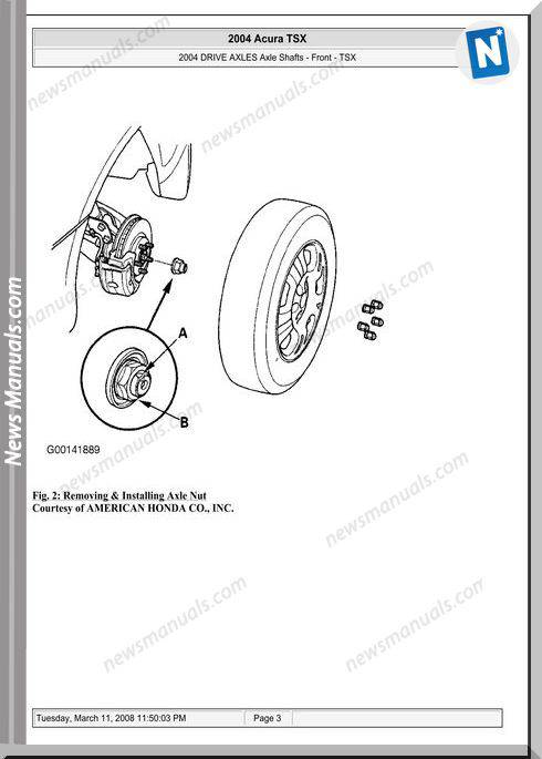 Acura Tsx Front Axle Shafts Repair Manual 2003 2008