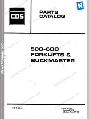 Allis Chalmers 500 600 Forklifts Buckmaster Part Manual