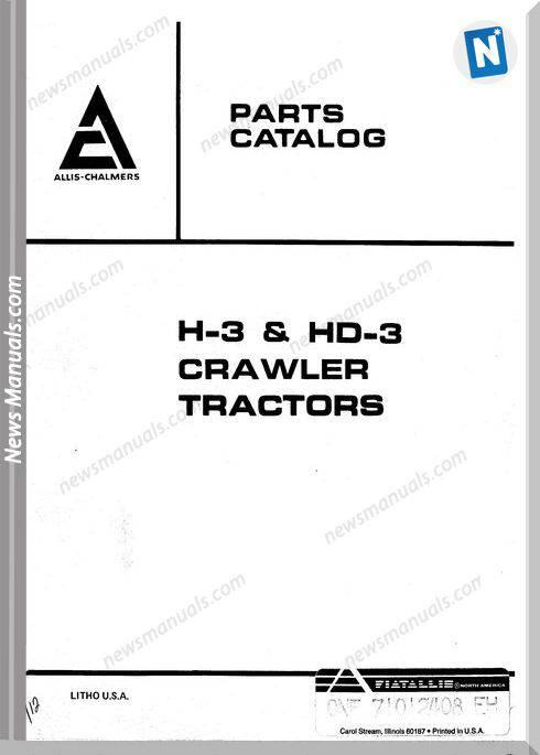 Allis Chalmers H3 Hd3 Crawler Tractors Parts Catalog