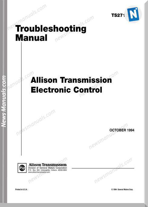 Allison Ts2712 Transmission Troubleshooting Manuals