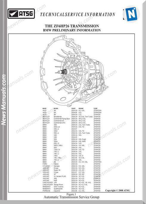 Atsg Transmission Models 6Hp26 Tg Technical Service