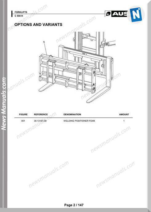 Ausa Forklift Models C500H Parts Manual