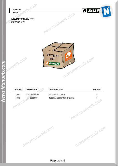 Ausa Forklift Models T276H Parts Manual
