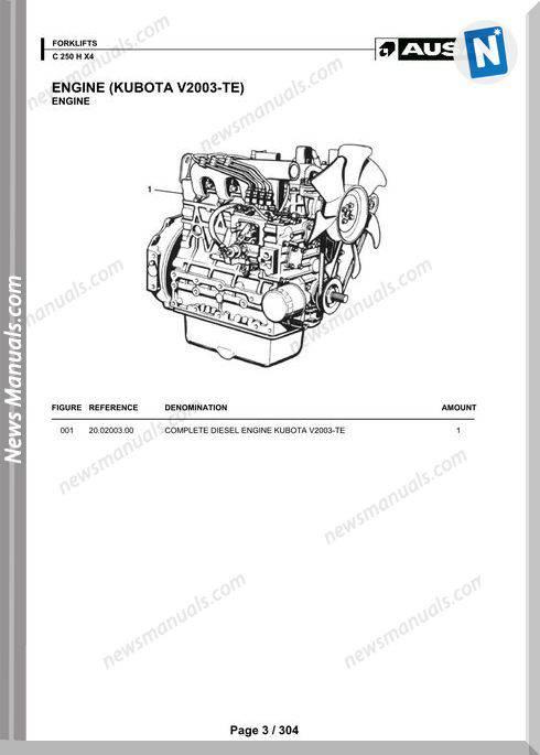 Ausa Models C 250 X X4 Parts Manual Katalog Delova