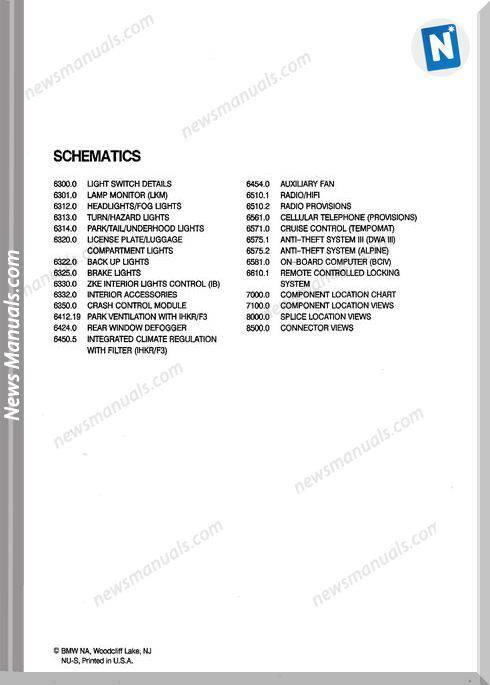 Bmw 525I 525It 535I M5 1993 Troubleshooting Manual