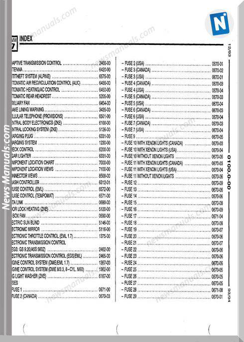Bmw 740I 740Il 750Il 1993 Troubleshooting Manual