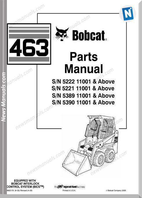 Bobcat 463 Skid Loader Parts Manual