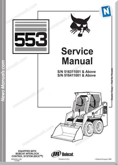 Bobcat 553 516311001 516411001 Service Manual