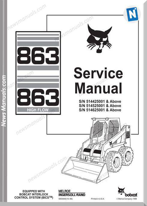 Bobcat 863 Skid Steer Loader Workshop Manual