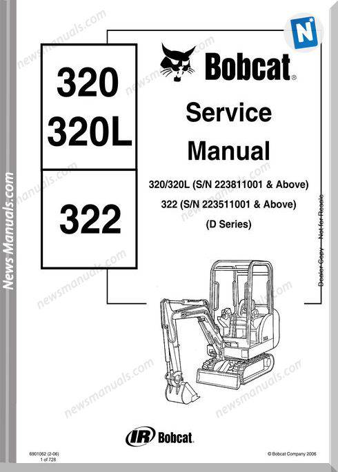 Bobcat Excavators 320 322 6901062 Service Manual 2 06