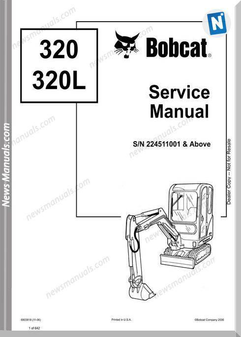 Bobcat Excavators 320 6903818 Service Manual 11 06