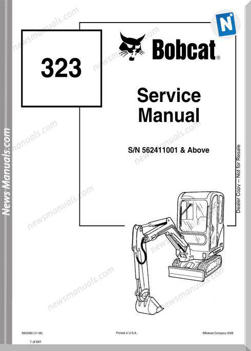 Bobcat Excavators 323 6903380 Service Manual 11 06