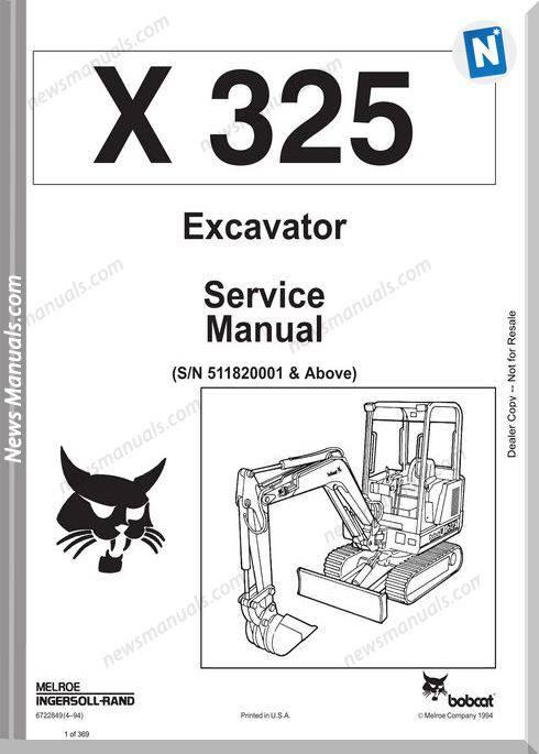 Bobcat Excavators 325 6722849 Service Manual 4 94