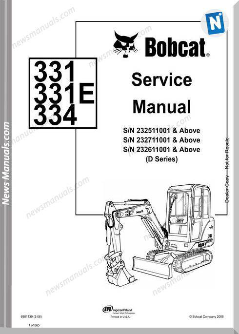 Bobcat Excavators 331 334 6901139 Service Manual 2 06