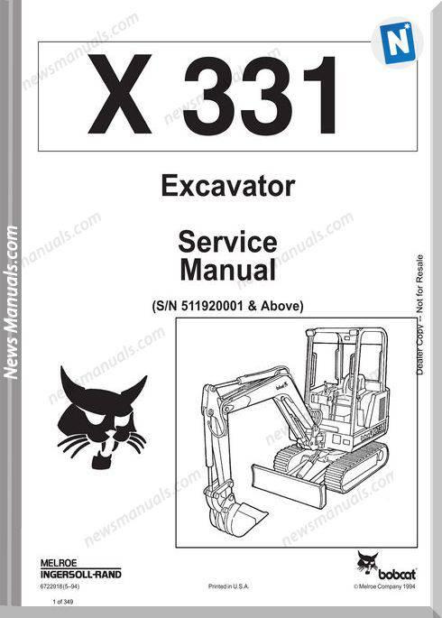 Bobcat Excavators 331 6722918 Service Manual 5 94