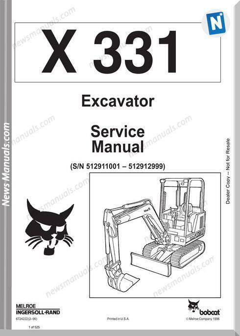 Bobcat Excavators 331 6724222 Service Manual 2 96