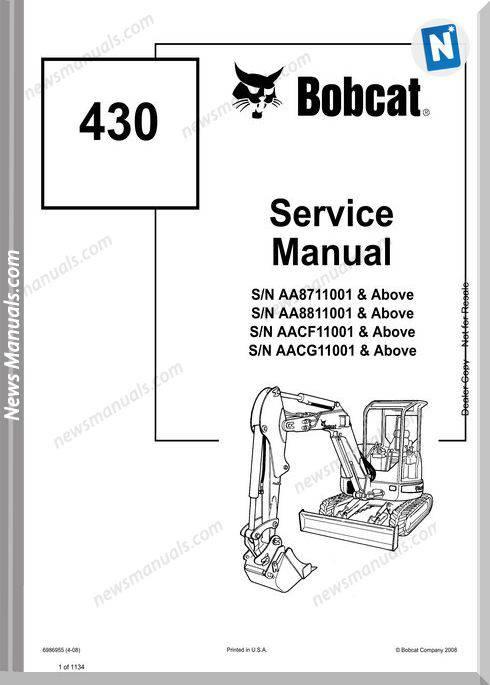 Bobcat Excavators 430 6986955 Service Manual 4 08