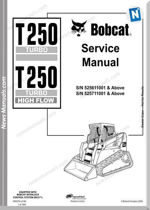 Bobcat T250 Hydraulic Excavator Service Manual 6902724