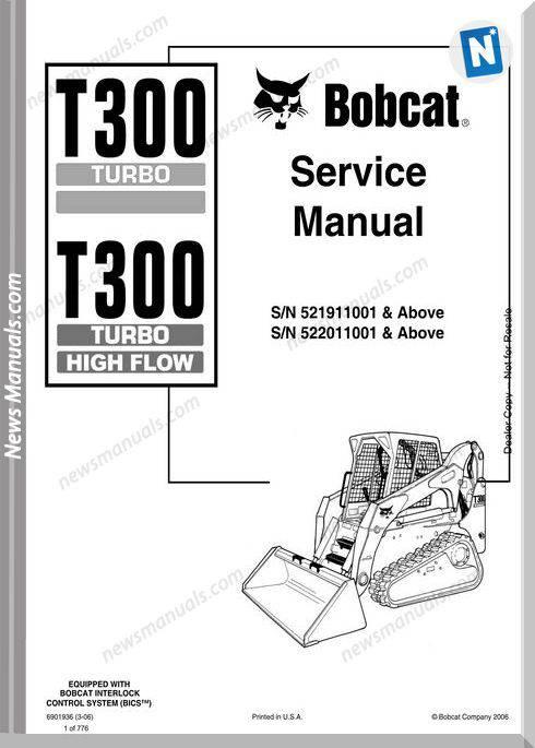 Bobcat T300 Hydraulic Excavator Service Manual 6901936