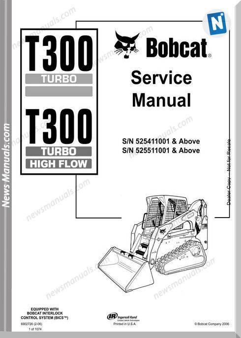 Bobcat T300 Hydraulic Excavator Service Manual 6902726