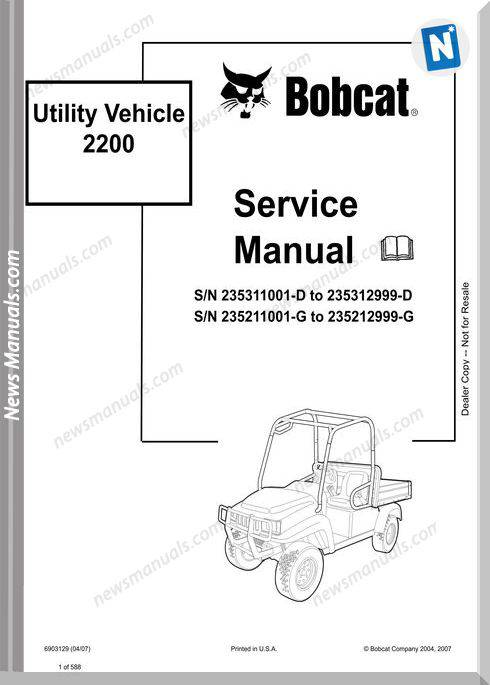 Bobcat Utility 2200 Service Manual