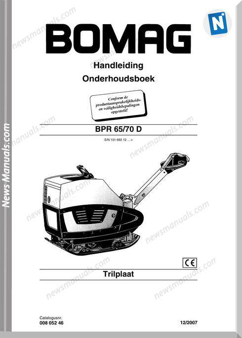 Bomag Bpr 65 70D Maintenance Manual