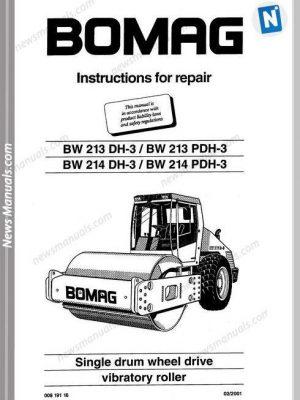 Bomag Bw213Dh-3,Bw213Pdh-3,Bw214Dh-3 Repair Manual