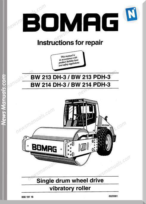 Bomag Bw213Dh-3,Bw213Pdh-3,Bw214Dh-3 Repair Manual