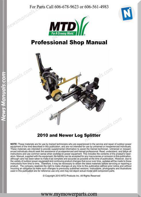 Cadet 2010 And Newer Log Splitter Repair Manual Mtd Cub