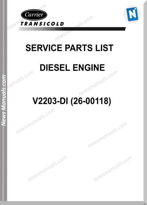 Carrier V2203 Di 26 00118 Vector Engine Service Parts